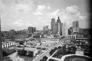 1940s Skyline of Business District of Houston Texas from City Hall
