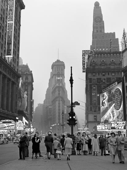 1940s Times Square at Twilight Night Looking South from Duffy Square Towards Ny Times Building--Photographic Print