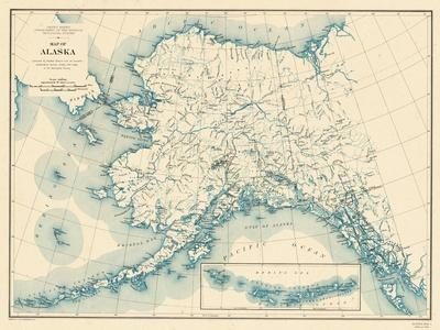 picture regarding Printable Map of Alaska identified as Appealing Maps of Alaska art for sale, Posters and