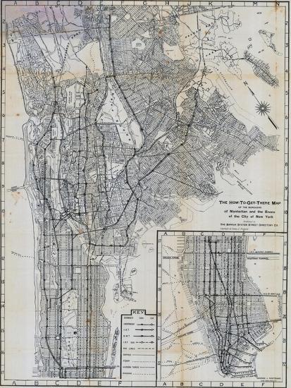 1941, Manhattan and The Bronx Map, New York, United States--Premium Giclee Print