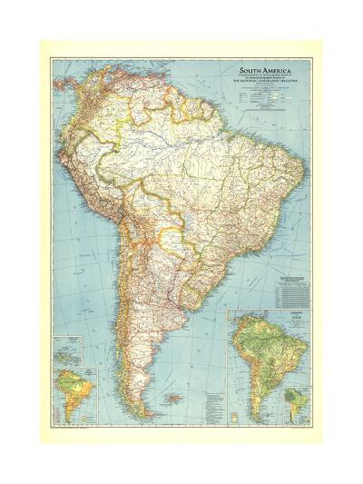 1942 South America Map-National Geographic Maps-Art Print