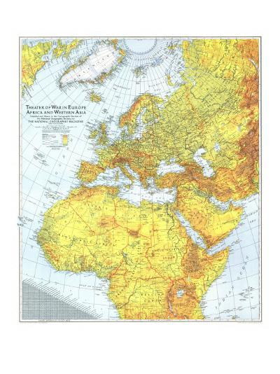 1942 Theater of War in Europe, Africa and Western Asia Map-National Geographic Maps-Art Print