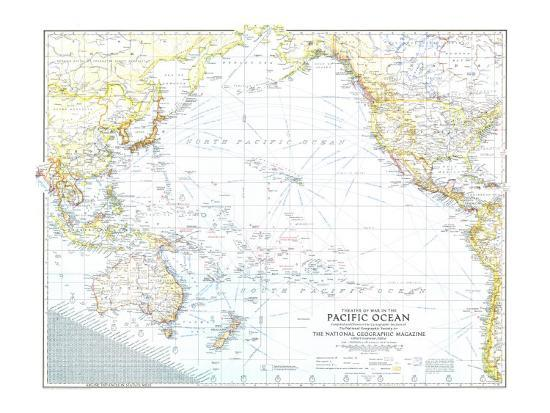1942 Theater of War in the Pacific Ocean Map Art Print by National  Geographic Maps | Art com
