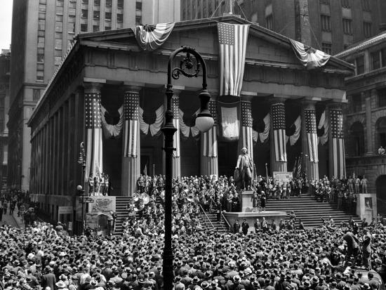 1942 WWII War Bond Rally Federal Treasury Building New York Stock Exchange Wall Street Manhattan--Photographic Print