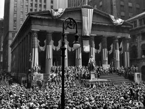 1942 WWII War Bond Rally Federal Treasury Building New York Stock Exchange Wall Street Manhattan