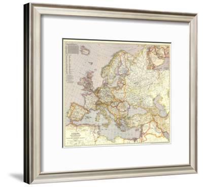 1943 Europe, and the Near East Map-National Geographic Maps-Framed Premium Giclee Print