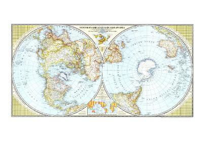 1943 Northern and Southern Hemispheres Map-National Geographic Maps-Art Print