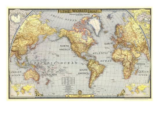 1943 World Map-National Geographic Maps-Premium Giclee Print