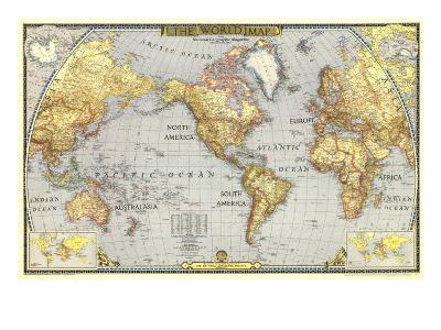 1943 World Map-National Geographic Maps-Art Print