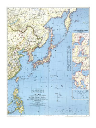 1944 Japan and Adjacent Regions of Asia and the Pacific Ocean Map-National Geographic Maps-Art Print