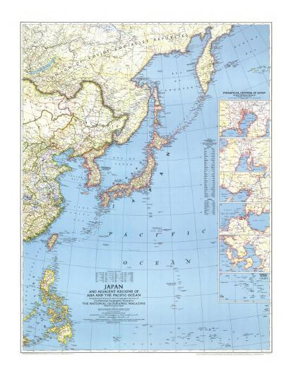1944 Japan and Adjacent Regions of Asia and the Pacific Ocean Map Art Print  by National Geographic Maps | Art.com
