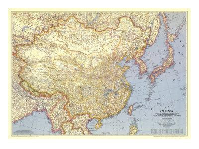 1945 China Map Art Print by National Geographic Maps | Art.com