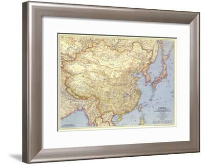 1945 China Map-National Geographic Maps-Framed Art Print