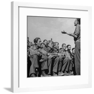 1945: Emil Kimmich Former German Army Captain and Singing Choir of Teen Prisoners, Attichy, France-Ralph Morse-Framed Photographic Print