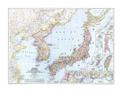 1945 Japan and Korea Map-National Geographic Maps-Art Print