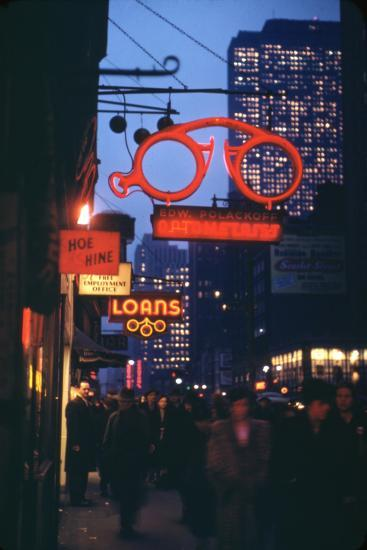 1945: Midtown Manhattan at Night with Neon Lights Advertising, New York, Ny-Andreas Feininger-Photographic Print