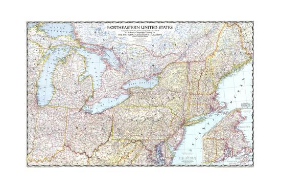 1945 Northeastern United States Art Print by National Geographic Maps |  Art.com