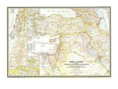 1946 Bible Lands, and the Cradle of Western Civilization Map-National Geographic Maps-Art Print