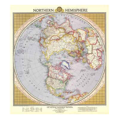 1946 Northern Hemisphere Map-National Geographic Maps-Art Print