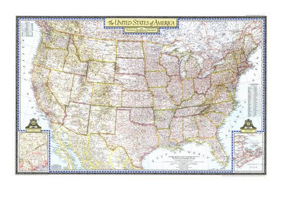 1946 United States of America Map Art Print by National Geographic Maps |  Art.com