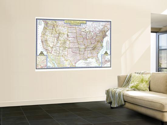 1946 United States of America Map Wall Mural by National Geographic ...