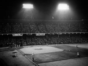 1947 Baseball Night Game under the Lights Players Standing for National Anthem Ebbets Field