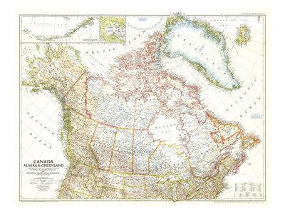 photograph about Printable Map of Alaska titled 1947 Canada, Alaska and Greenland Map Artwork Print by means of Countrywide Geographic Maps