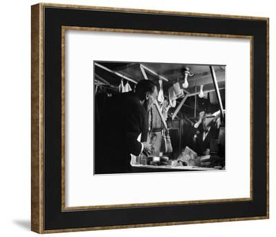 1947: Comedian Joe E. Lewis Backstage at the Copacabana Nightclub in Nyc-Gjon Mili-Framed Photographic Print