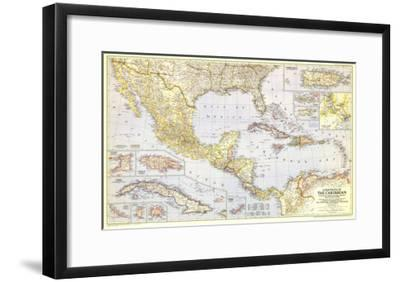 1947 Countries of the Caribbean Map-National Geographic Maps-Framed Art Print
