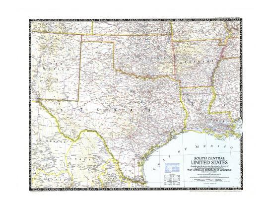 1947 South Central United States Map Art Print by National ...