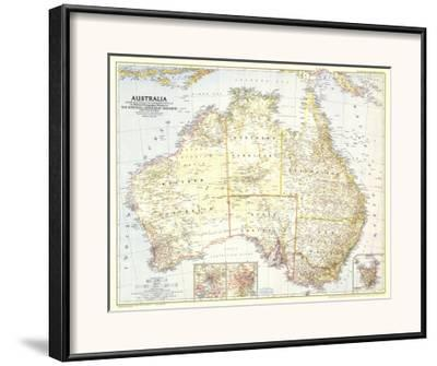 1948 World Map.1948 Australia Map Framed Art Print By National Geographic Maps