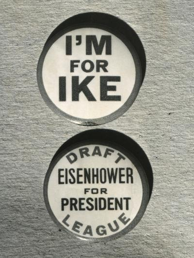 1948 Campaign Buttons of the 'Draft Eisenhower for President League'--Photo