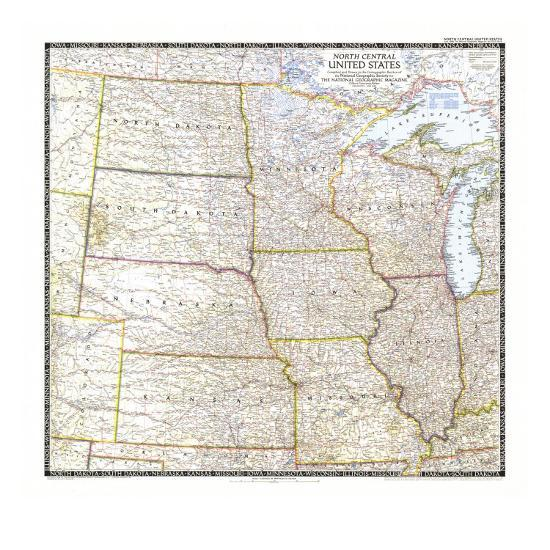 1948 North Central United States Map Art Print by National ...
