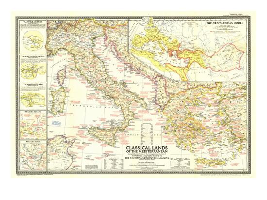 1949 Classical Lands of the Mediterranean Map-National Geographic Maps-Art Print