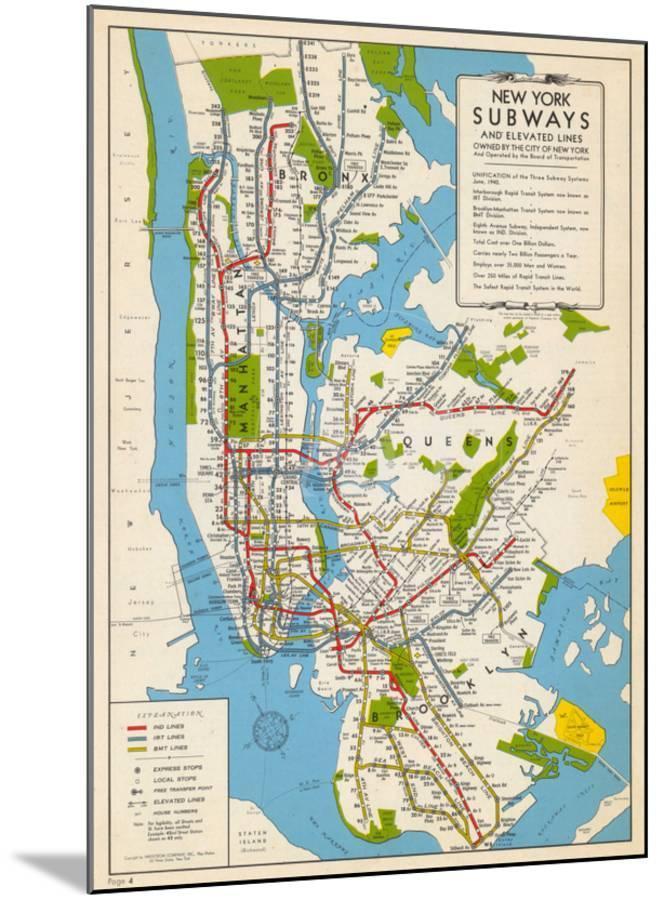1949, New York Subway Map, New York, United States Mounted Print by ...