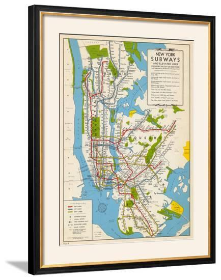1949 New York Subway Map New York United States Framed Giclee