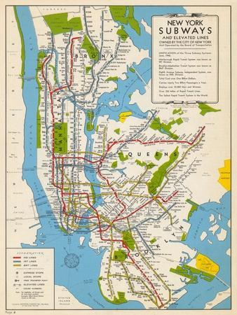 1949, New York Subway Map, New York, United States--Giclee Print