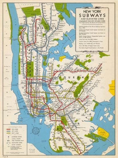 1949 New York Subway Map New York United States Giclee Print By