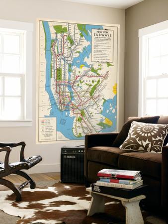1949, New York Subway Map, New York, United States
