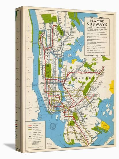 1949, New York Subway Map, New York, United States--Stretched Canvas Print