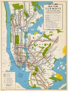1949, New York Subway Map, New York, United States