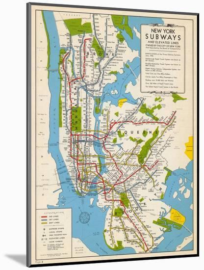 1949, New York Subway Map, New York, United States--Mounted Premium Giclee Print
