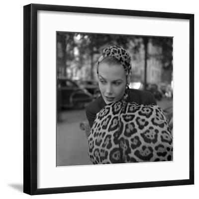 1949: Woman in Fur Fashion in New York City-Gordon Parks-Framed Photographic Print