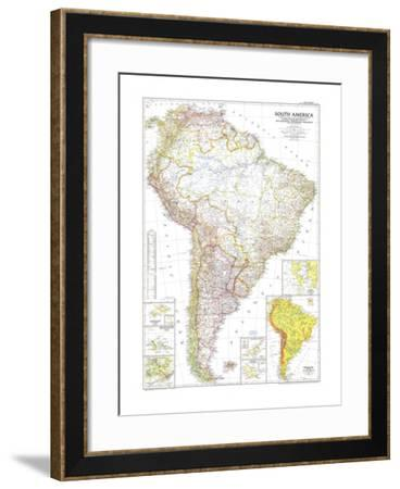 1950 South America Map-National Geographic Maps-Framed Art Print