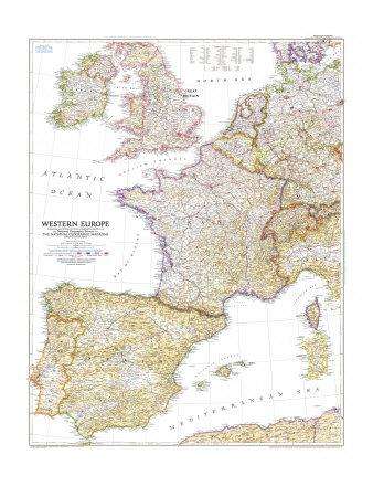 image about Printable Map of Western Europe named 1950 Western Europe Map Artwork Print as a result of Nationwide Geographic Maps