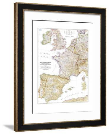 1950 Western Europe Map-National Geographic Maps-Framed Art Print