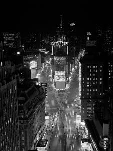 1950s-1960s Night Aerial View Times Square from Times Building Looking North Manhattan