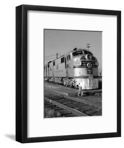 1950s-1960s Streamlined Burlington Route Railroad Train Diesel Locomotive Engine at Station