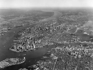 1950s Aerial View of Manhattan Island on Left Is Hudson River on Right Is East River and Brooklyn