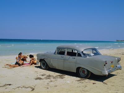 1950s American Car on the Beach, Goanabo, Cuba, Caribbean Sea, Central America-Bruno Morandi-Photographic Print